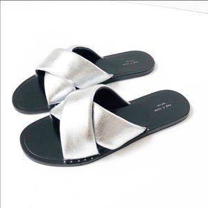 Rag & Bone Keaton Leather Metallic Slides